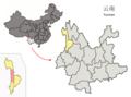 Location of Fugong within Yunnan (China).png
