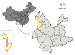 Location of Fugong County (pink) and Nujiang Prefecture (yellow) within Yunnan province