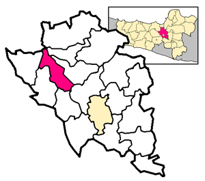 Ambarawa - The city of Ambarawa (in red) within the Semarang kabupaten