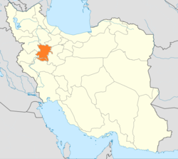 Map of Iran with Hamadan highlighted