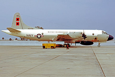 Lockheed WP-3A Orion weather reconnaissance aircraft of VW-4 Squadron at its NAS Jacksonville Florida base in 1974 Lockheed P-3 WP-3A 150496 VW-4 JAX 06.74 edited-2.jpg