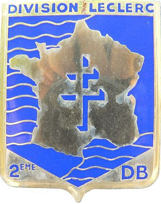 2nd Armored Division (France) - 2ème DB arms featuring the Free French cross of Lorraine.