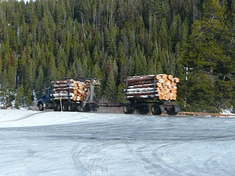 U.S. Route 12 - Logging truck at Lolo Hot Springs, Montana