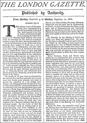 History of journalism in the United Kingdom - The London Gazette, facsimile front page from 3–10 September 1666, reporting on the Great Fire of London.