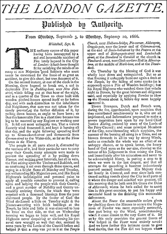The London Gazette - A London Gazette reprint of its front page from 3–10 September 1666, reporting on the Great Fire of London