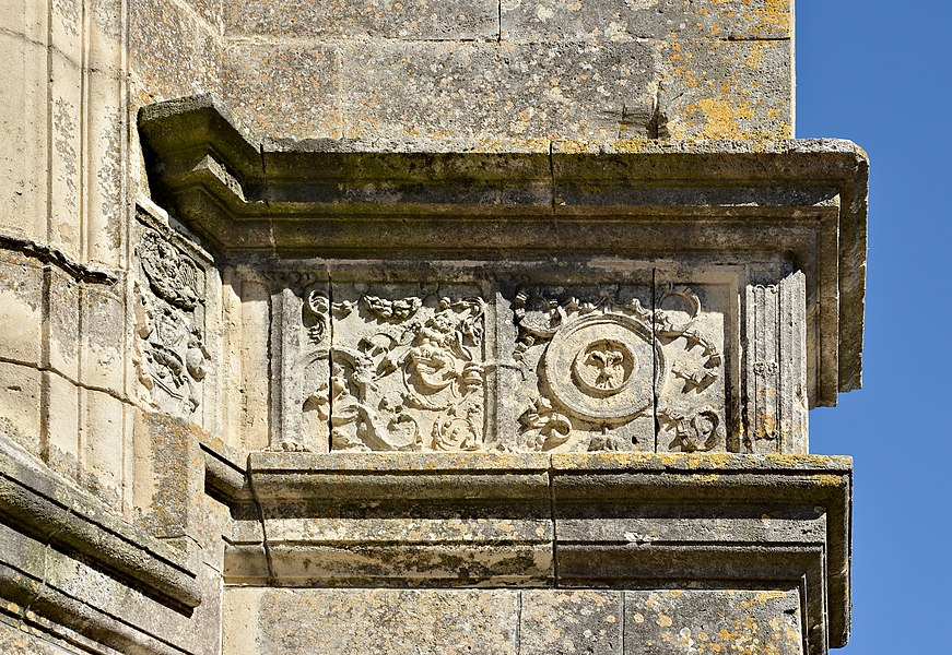Part of the exterior frieze (ca 1520-1530), Notre-Dame de Lonzac, Charente-Maritime, France.
