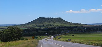 Gowrie Mountain, Queensland - Looking west along the Warrego Highway towards Gowrie Mountain, 2015