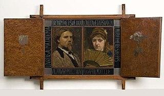 Drieluik met portret van de schilder Laurens Alma Tadema en zijn tweede vrouw