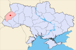 Map of Ukraine (blue) with Busk (red) highlighted.