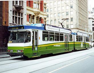 Timeline of trams in Melbourne - A B2 Class tram in an M-Tram Livery