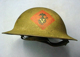 Brodie helmet - M1917 helmet worn by members of the U.S. 5th Marine Regiment.