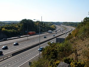 M20 motorway - M20 near Maidstone showing separated distributor roads
