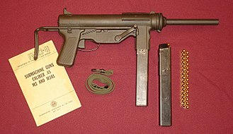 M3 submachine gun - World War II-era Guide Lamp M3 submachine gun with 30-round magazine and other accessories. The Buffalo Arms bolt in this original M3 is dated January 1944.