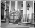 MAIN GATE WITH LANTERNS, EAST (FRONT) SIDE - Hibernian Hall, 105 Meeting Street, Charleston, Charleston County, SC HABS SC,10-CHAR,88-3.tif