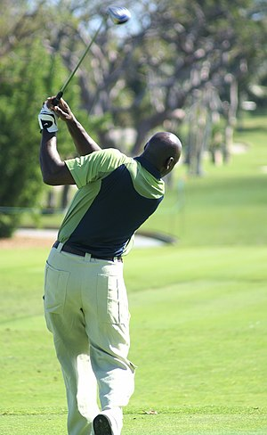 Michael Jordan following through on his golf s...