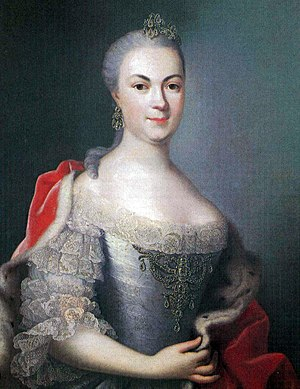 Countess Maria Louise Albertine of Leiningen-Falkenburg-Dagsburg - Marie Louise Albertine of Hesse-Darmstadt in a painting around 1753  by Johann Christian Fiedler