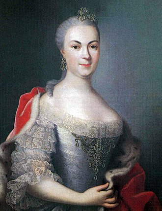 Countess Maria Louise Albertine of Leiningen-Dagsburg-Falkenburg - Marie Louise Albertine of Hesse-Darmstadt in a painting around 1753  by Johann Christian Fiedler
