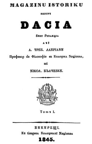 Nicolae Bălcescu - First page of Magazin istoric pentru Dacia, Volume I, 1845