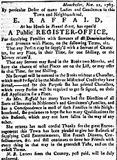 Advert for Raffald's register office for servants and their potential employers
