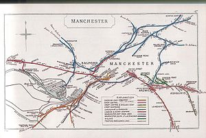 Manchester Liverpool Road railway station - A 1910 Railway Clearing House of central Manchester showing Liverpool Road goods station served by the London & North Western Railway. The 1844 line from Ordsall to Victoria is shown in red.