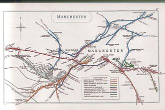 Manchester Victoria station - Railway Clearing House map of central Manchester railways in 1910