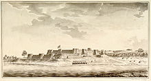 A fort with two-tiered ramparts and many bastions rises above the far bank of a river. Some human settlements are visible nearby.