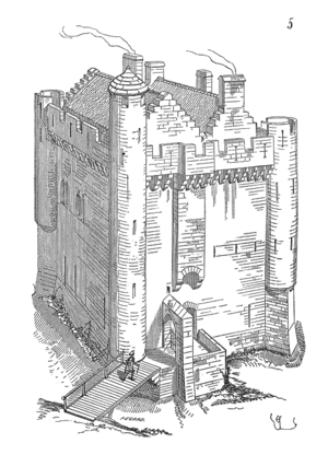 Fortified house - Fortified house in Camarsac, 14th century (artist's impression by Viollet-le-Duc)