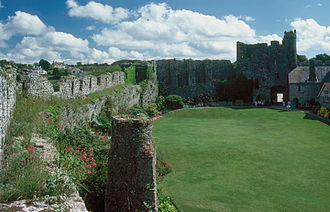Manorbier Castle - The inner ward of the castle.