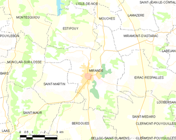 Map of the commune de Mirande
