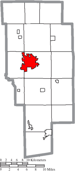 Location of Ashland in Ashland County
