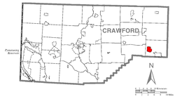 Location of Hydetown in Crawford County