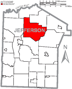 Map of Jefferson County, Pennsylvania Highlighting Warsaw Township.PNG