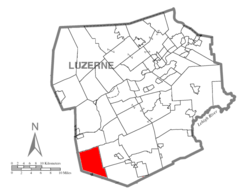 Map of Luzerne County highlighting Black Creek Township