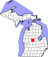 State map highlighting Isabella County