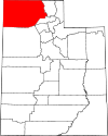 State map highlighting Box Elder County