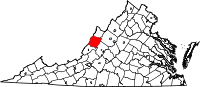 Map of Virginia highlighting Bath County