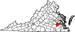 State map highlighting Prince George County