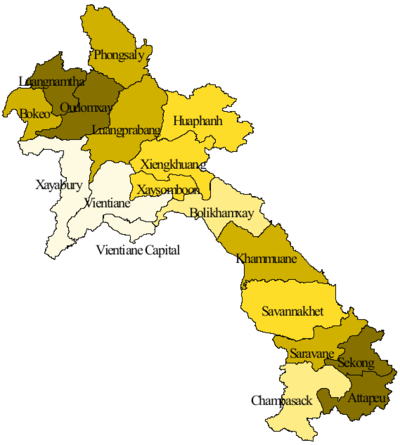 Map of the provinces of Laos. Updated 2015.png