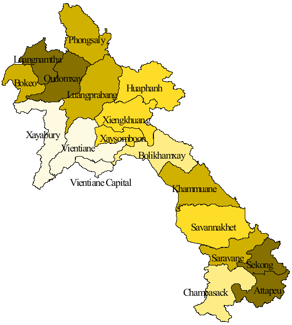 Map of the provinces of Laos. Updated 2015