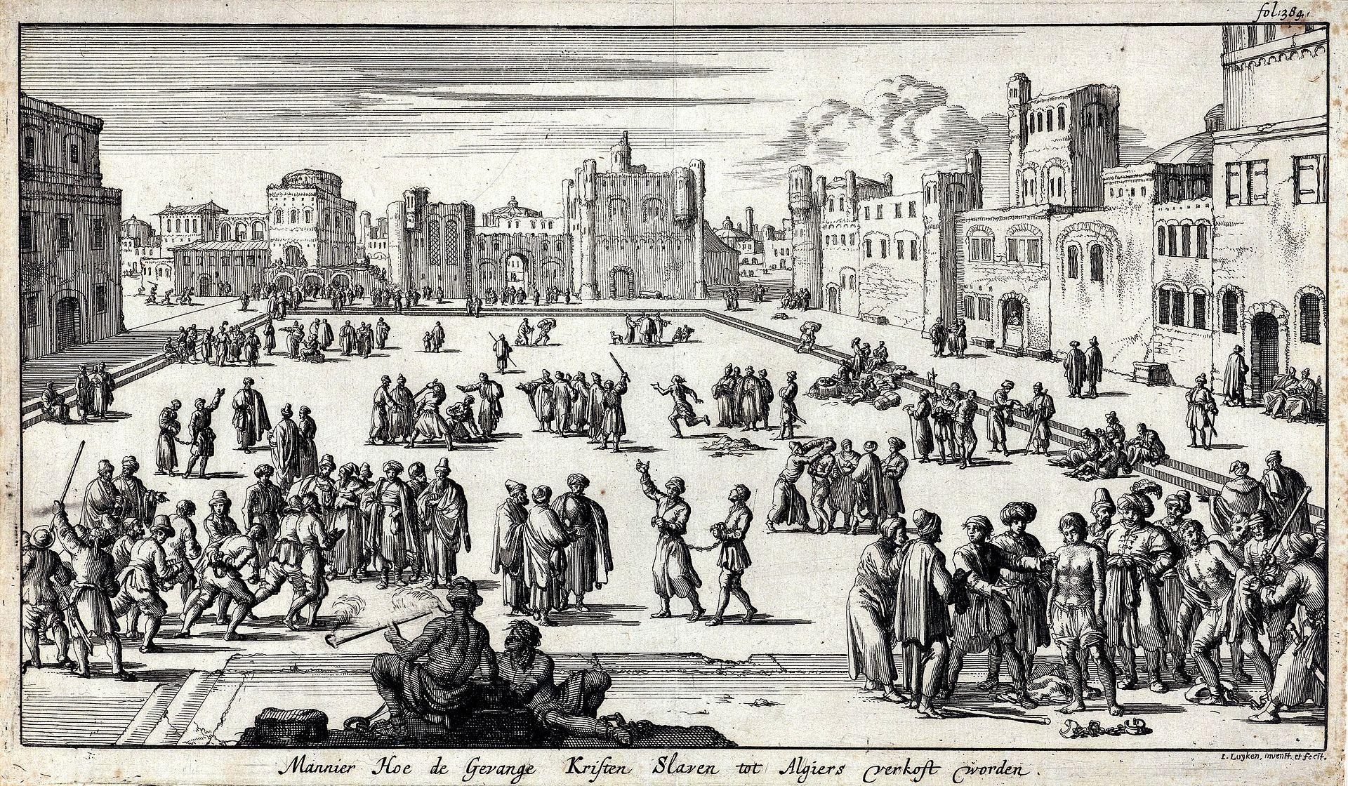 Manière dont les prisonniers chrétiens sont vendus comme esclaves au marché d'Alger (Gravure hollandaise, 1684)