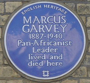 Marcus Garvey - Blue plaque, 53 Talgarth Road, London