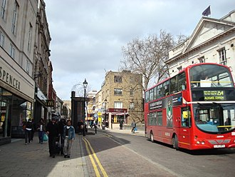 Mare Street - Mare Street in the 21st century.  A London bus passes a branch of Marks and Spencer.