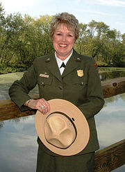 NPS director Mary Bomar in her park ranger uniform