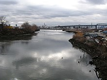 A westward view at the Maspeth Creek
