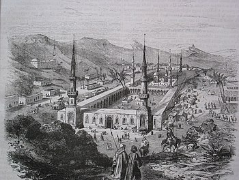 The main mosque of Medina with the tomb of Muhammad, steel engraving (19th century)
