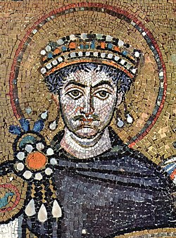 Justinian depicted on one of the famous mosaics of the Basilica of San Vitale, Ravenna