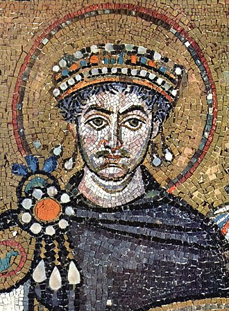 Theodora (6th century) - Depiction of Justinian from a contemporary portrait mosaic in the Basilica of San Vitale, Ravenna