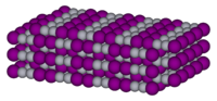 Spacefil model of crystalline mercury(I) iodide