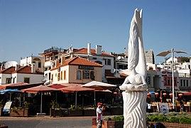 Mermaid statue in the port of Marmaris, Muğla Province, southwest Turkey, Mediterranean