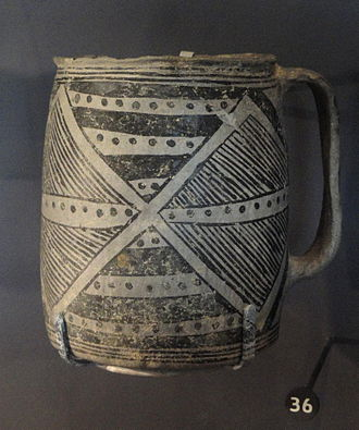 Natural History Museum of Utah - Mesa Verde black-on-white mug, San Juan Anasazi, 1200-1300 AD